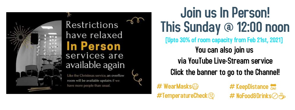 In Person Service Notice - Click the banner to go to our YouTube channel